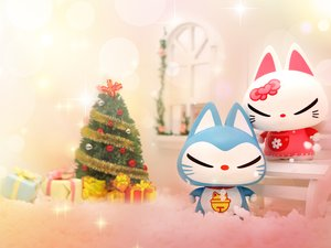 安卓动漫 可爱 动画 手绘 圣诞节 拽猫手机壁纸