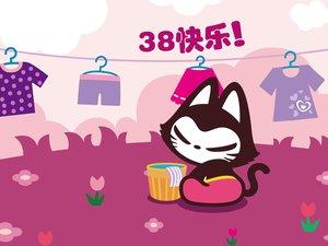 安卓拽猫 动漫 卡通 手绘 可爱 38妇女节 女生节 三八节手机壁纸