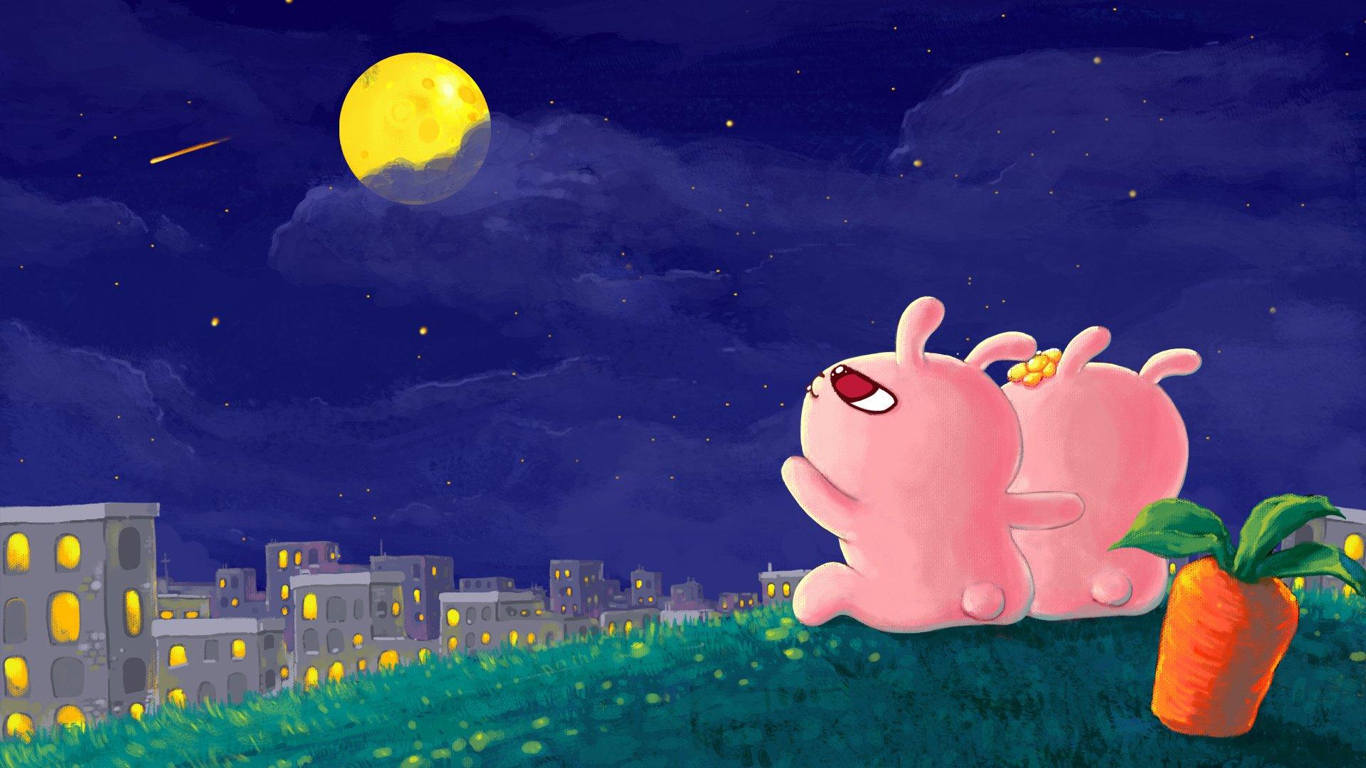 android安卓动漫 卡通 兔子 冷兔 插画 可爱 月亮高清