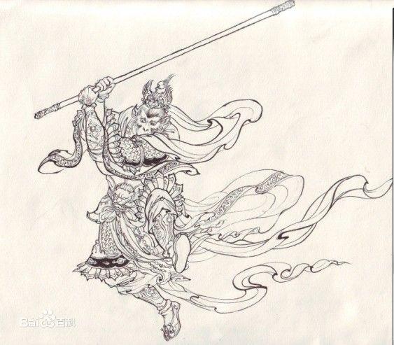 贝吉塔和孙悟空的简笔画