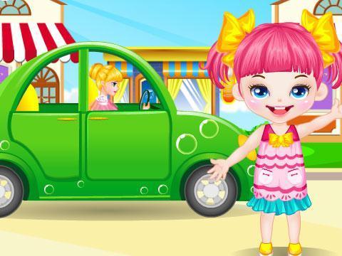 可爱小女孩去野餐